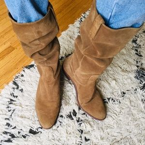 FRYE Bari Slouchy Suede Tan Tall Boots 11